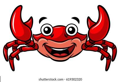 Vector Cartoon Happy Red Crab