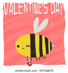 Vector cartoon Happy valentine's day flat greeting card. For game presentation, user interface tablet, smart phone. With cute bee.