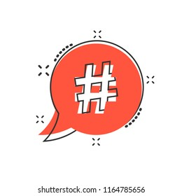 Vector cartoon hashtag icon in comic style. Social media marketing concept illustration pictogram. Hashtag network business splash effect concept.