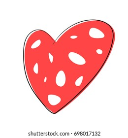 Vector cartoon heart isolated on white background. Hand drawn red heart. Symbol of love. Flat vector illustration.