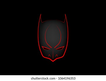 Vector Cartoon Hero Head, Batman style, carnival red devil mask , vector isolated or black background