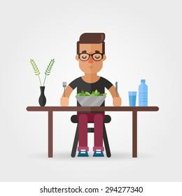Vector Cartoon Hipster Eating Salad