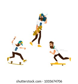 Vector cartoon hipster man skateboarding set. Bearded characters jumping olly in glasses cap, headphones. Male handsome portraits fashion style haircut mustache. Isolated background illustration