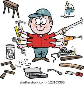 Vector cartoon of home handyman with workshop tools.