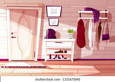 Vector cartoon home interior, hallway with furniture - shelf, rack and hangers with clothes. Cozy antechamber with white door and carpet. Corridor to exit, lobby. Indoor background.