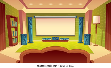Vector cartoon home theater with projector, audio video system inside the hall. White screen on the wall, speakers, sofa, furniture. Modern interior, electronic device with stereo surround
