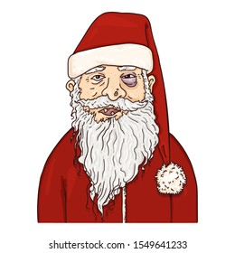 Vector Cartoon Homeless Santa Claus.