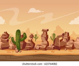 Vector cartoon horizontal seamless landscape with stones and cactus. Game wild background illustration. Nature scene landscape with mountain desert