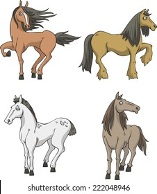 Vector Cartoon Horse Collection With Four Horses In Different Colors And Positions