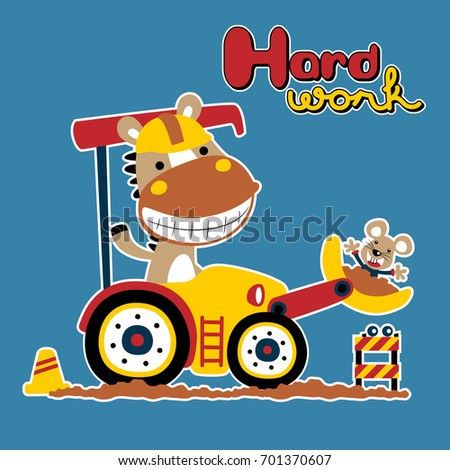 Vector Cartoon Horse Rat On Heavy Stock Vector (Royalty Free