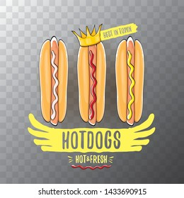 vector cartoon hot dogs label isolated on on transparent background. Vintage hot dog poster or icon design element collection. Fast food, cafe or hotdog carts logo design concept
