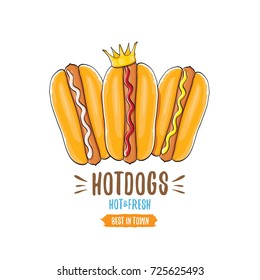 vector cartoon hotdogs icon set isolated on white background. Vintage hot dog poster or label design element collection. Fast food, cafe or hotdog carts logo design concept