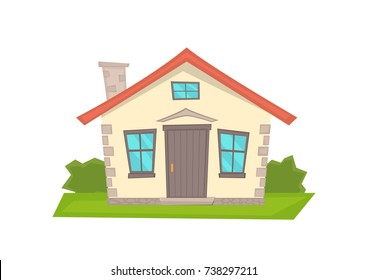 Vector cartoon  house on white background