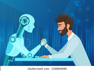 Vector cartoon Human businessman office manager man vs robot artificial intelligence pulling rope competition. Near future battle.