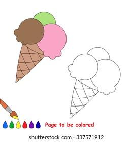 Vector cartoon ice-cream to be colored.