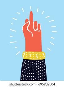Vector cartoon illuatration of Hand gesture, Fuck You, symbol. Middle finger sign. Cartoon vector illustration, sticker
