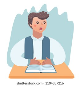 Vector cartoon illustation of frightened boy in class kid doing homework or sitting on boring school lesson.