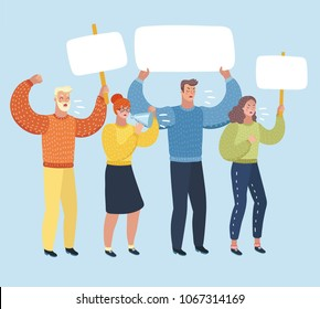 Vector cartoon illustation of People on strike waving banners picketing, shout ft loudspeacker and protesting against something. Male and famale characters on white isolated backgound.