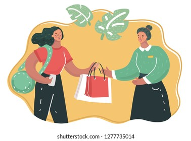 Vector cartoon illustation of Shopping assistant help customer in clothing store. Making purchase.