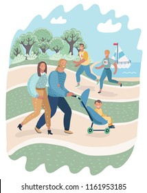 Vector cartoon illustratio of People relaxing in nature in a beautiful urban park. Family walkin with kids, couple running and jogging.