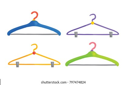 Vector cartoon illustration of 4 colorful clothes hangers isolated against white background