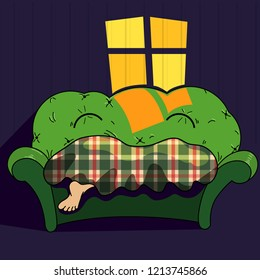 Vector cartoon illustration about a lazy day on a sofa