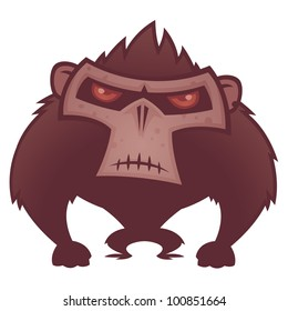 Vector cartoon illustration of an angry ape with red eyes.
