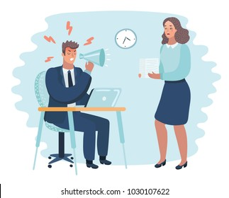 Vector cartoon illustration of angry boss and frightened employee. Man sitting at the table, woman bring pile of papers