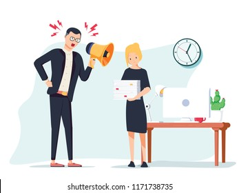 Vector cartoon illustration of angry boss and frightened employee. Man standing near the table, woman bring pile of papers. Office work stress bullying and anger, harrassment concept. Job Intimidation