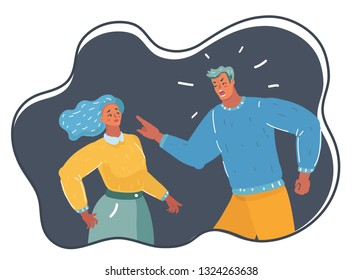 Vector cartoon illustration of Angry male tyrant. He punishment woman. Despot with absolute power, unhappy couple quarrel. Human character on dark background.