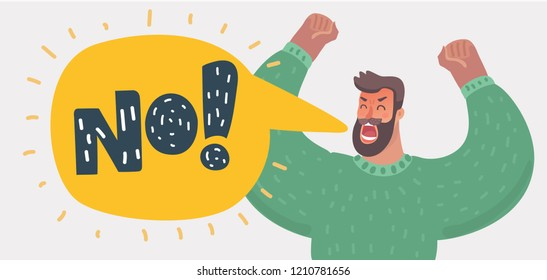 Vector cartoon illustration of of an angry man roaring NO. Male character shouting. Emoticon, emoji, facial expression. Balloon speech contain hand drawn lettering.