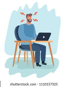 Vector cartoon illustration of angry office angry man character sit at the desk at office.