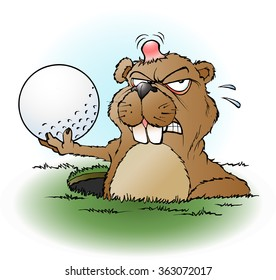 Vector cartoon illustration of an angry prairie dog with a golf ball