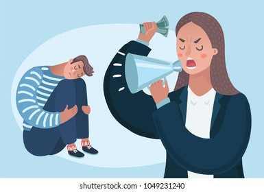 Vector cartoon illustration of angry woman boss character yelling man. family problems, pressure at work. Psychological abuse