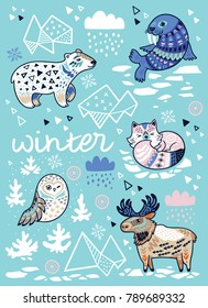 Vector cartoon illustration of arctic animals in blue colors. Cute print for Christmas and New Year hollidays in Scandinavian style