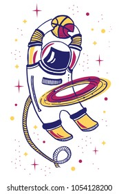 Vector cartoon illustration with asronaut playing basketball in space with planet ring on white background