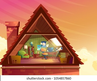 Vector cartoon illustration of attic, mansard, loft under the roof of building for accommodation or storage. Top floor of private house, room to observe the sky with furniture, interior inside