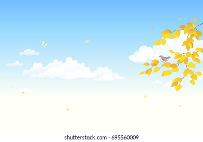 Vector cartoon illustration of an autumn sky background with falling leaves and fluffy clouds