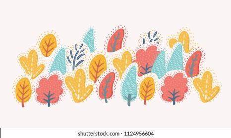 Vector cartoon illustration of autumn trees on withe isolated background.