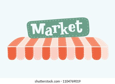 Vector cartoon illustration of Awning i. Striped red and white sunshade for shops, cafes and street restaurants. Outside canopy from the sun. Signboard with hand drawn market description.