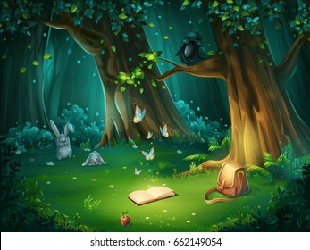 Vector cartoon illustration of background forest glade. Bright wood with hares, butterflies and crow in glasses, book, apple, travel bag. For design game, websites and mobile phones, printing.