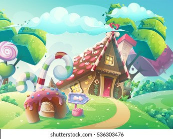 Vector cartoon illustration background sweet candy house with fantasy trees, funny cake and caramel.