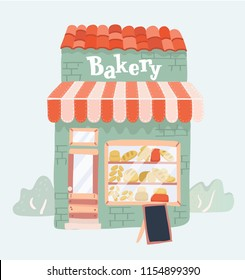 Vector cartoon illustration of Bakery shop front view icon. Bakery facade on white background.