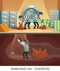 Vector cartoon illustration of bank robbery in safety vault. Three thieves stealing gold, cash and throwing bag, sack with currency into undermining. Storage security concept against criminals