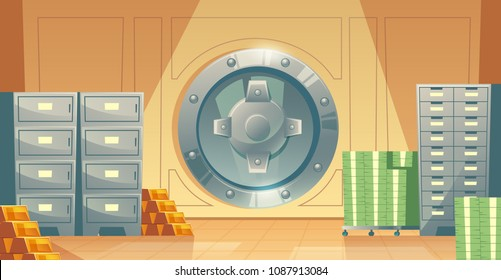 Vector cartoon illustration of bank vault inside, metallic iron safe door. Gold, cash, currency for financial concept, business template. Storage gate with electronical lock.