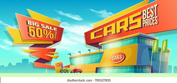 Vector cartoon illustration, banner with car sale on blue background with city silhouette. A great advertising poster of sales, a special offer for the car dealership