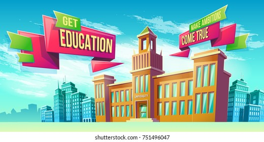 Vector cartoon illustration, banner, educational background with building educational institution and space for your text. Advertising poster, brochure, flyer for a prestigious university