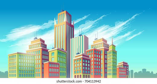 Vector cartoon illustration, banner, urban background with modern big city buildings, skyscrapers, business centers. City landscape.