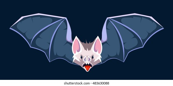 vector cartoon illustration of Bat. Symbol of vampires. Picture isolate on dark background