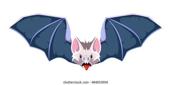 vector cartoon illustration of Bat. Symbol of vampires. Picture isolate on white background